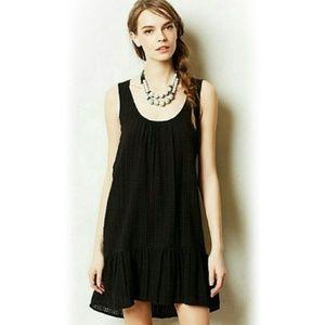 Maeve Anthro Ruffled Hem Black Dress